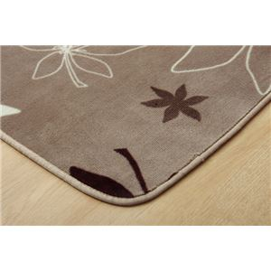 ラグマット カーペット 1畳 洗える 抗菌 防臭 『WSプランタ』 ブラウン 約92×185cm (ホットカーペット対応)