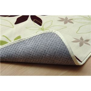 ラグマット カーペット 3畳 洗える 抗菌 防臭 『WSプランタ』 グリーン 約200×250cm (ホットカーペット対応)