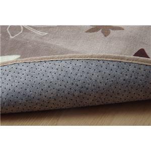 ラグマット カーペット だ円 洗える 抗菌 防臭 『WSプランタ』 ブラウン 約140×200cm楕円 (ホットカーペット対応)
