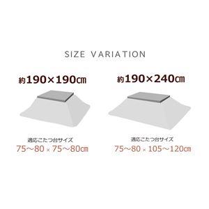 こたつ布団 正方形 掛け単品 チェック柄 『グラン』 ブラウン 約190×190cm