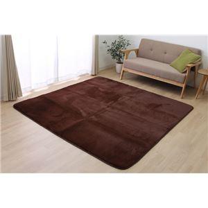 ラグ カーペット 2畳 洗える 無地 ラビットファー 『プレファ』 ブラウン 約185×185cm (ホットカーペット対応)