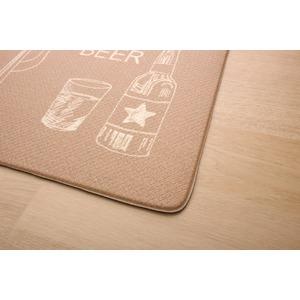 キッチンマット 180 PVC使用 抗菌防臭 『エスプリ』 ベージュ 約50×180cm 裏:すべりにくい加工