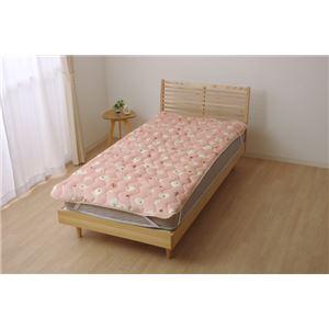 敷きパッド シングル 寝具 ひつじ柄 『ペコラ』 ピンク 約100×205cm