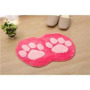 おしゃれ バスマット/フロアマット 【ピンク】 約35cm×50cm 洗える 防滑 かわいいアクセントマット 『足型マット ネコ』