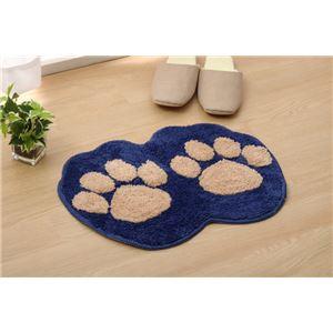 おしゃれ バスマット/フロアマット 【ブルー】 約35cm×50cm 洗える 防滑 かわいいアクセントマット 『足型マット ネコ』