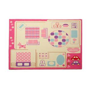 子供用 デスクカーペット/ルームマット 【女の子用 ピンク 133cm×170cm】 長方形 洗える 傷防止 お手入れ簡単 『ままごと』