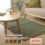 い草ラグ マット カーペット シンプル 長方形 『NSレクト』 グリーン 約88×160cm (裏:不織布)滑りにくい加工