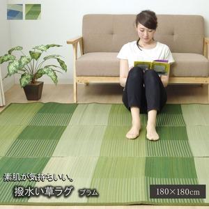 い草ラグ カーペット 約2畳 シンプル 格子柄 正方形 『NSプラム(撥水)』 グリーン 約180×180cm (裏:不織布)滑りにくい加工