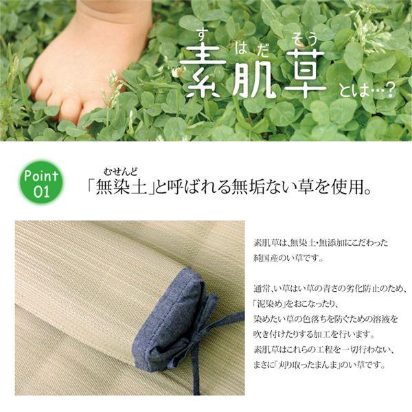 国産無染土い草使用 『デニム素肌草 角枕』 約30×15cm(中材:い草チップ)
