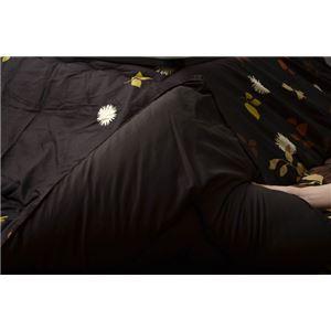 リーフ柄 こたつ布団 【正方形 ブラック 約190cm×190cm】 洗える ピーチスキン加工 『ロード』