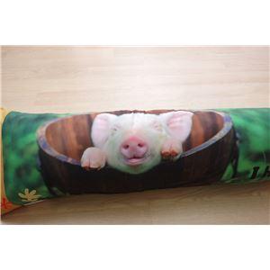 柔らかい 抱き枕/ピロー 【豚柄】 約30cm×110cm 日本製 洗える 『デジタルプリント抱き枕』 〔寝室 リビング〕