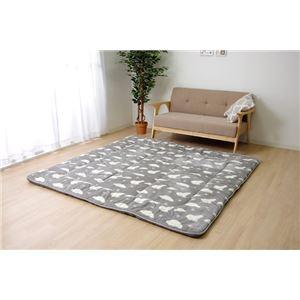 なめらかタッチラグマット/絨毯【ネイビー直径約120cm】円形洗えるシロクマ柄ボリュームタイプ『プルミエ』