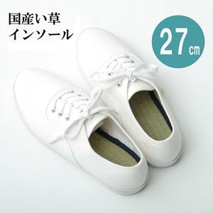 消臭&抗菌インソール/中敷き【約27cm】ネイビー日本製ムレ防止クッション性『い草インソール』〔靴〕