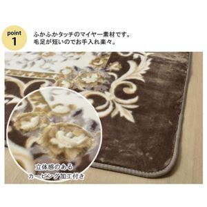 エレガンス柄 なめらかラグマット 【約200×250cm ブラウン】 長方形 洗える ホットカーペット対応 『サラサ RUG』