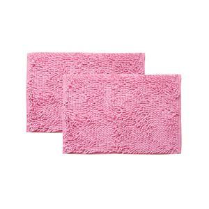 シンプル バスマット/フロアマット 【ピンク 2枚組 約35×50cm】 長方形 洗える 吸水 速乾 防滑加工 無地 『クリア』