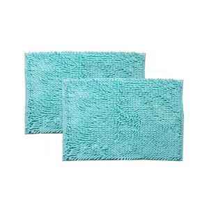 バスマット 洗える 吸水 速乾 無地 『クリア』 ブルー 2枚組 約45×60cm