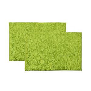シンプル バスマット/フロアマット 【グリーン 2枚組 約45×60cm】 長方形 洗える 吸水 速乾 防滑加工 無地 『クリア』