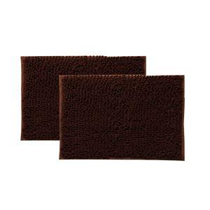 バスマット洗える吸水速乾無地『クリア』ブラウン2枚組約45×60cm