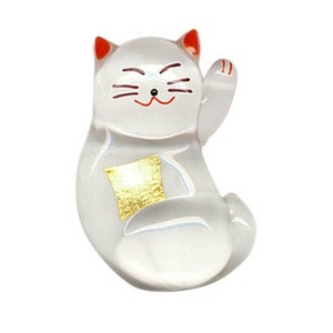 田中箸店 ガラス箸置(金箔入) 招金猫 054193