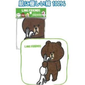 LINE ブラウン プレイ タオルハンカチ20×20cm 77-357 【10個セット】