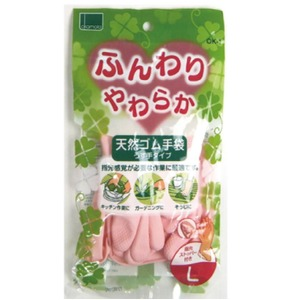 ふんわりやわらか天然ゴム手袋ピンクL【10個セット】 YO-310