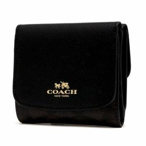 COACH コーチ アウトレット シグネチャー PVC レザー スモール ウォレット / 二つ折り財布 h01