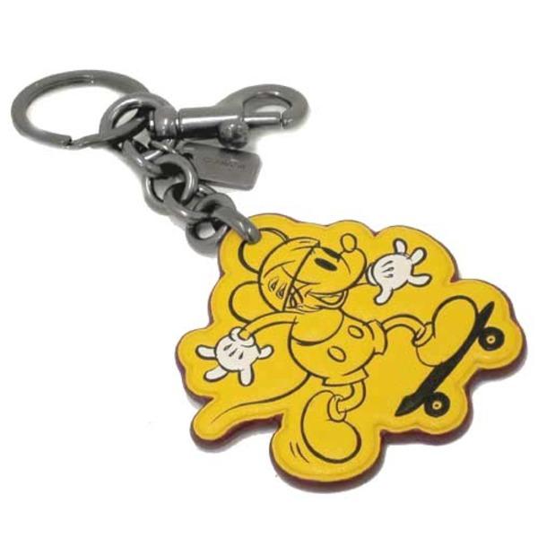 COACH アウトレット コーチ×ディズニー コラボ ミッキーマウス スケートボード レザー チャーム / キーリング F59869 BKBANf00