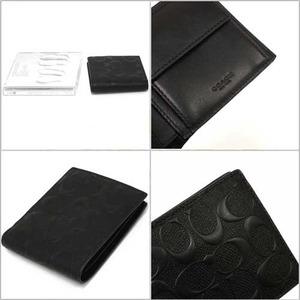 COACH アウトレット デボスド シグネチャー クロスグレーン レザー コイン ウォレット / 二つ折り財布 F75363 BLK