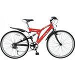 クロスバイク26・6SP・リア Mー650ー RDクロスバイク26・6 レッド 13-0784-126