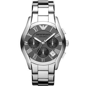 EMPORIO ARMANI (エンポリオ アルマーニ) AR1465 チタンセラミック クロノグラフ シルバー文字盤 メンズ 腕時計 クォーツ - 拡大画像