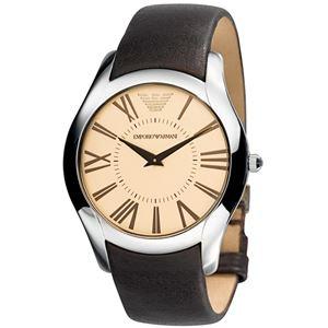 EMPORIO ARMANI (エンポリオ アルマーニ) AR2041 ブラウン革ベルト ブラウン文字盤 メンズ 腕時計 クォーツ - 拡大画像
