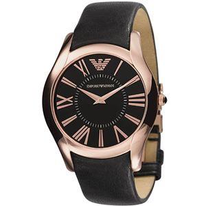 EMPORIO ARMANI (エンポリオ アルマーニ) AR2043 ステンレス(ピンクゴールドカラー) ブラック革ベルト ブラック文字盤 メンズ 腕時計 クォーツ - 拡大画像
