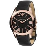 EMPORIO ARMANI (エンポリオ アルマーニ) AR2043 ステンレス(ピンクゴールドカラー) ブラック革ベルト ブラック文字盤 メンズ 腕時計 クォーツ