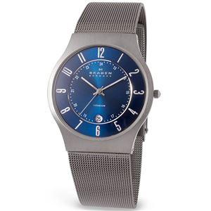 SKAGEN(スカーゲン) 233XLTTN ウルトラスリム チタン メッシュベルト ブルー文字盤 メンズウォッチ 腕時計 クォーツ - 拡大画像