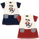 子供服 カラーホワイト&レッド Tabatha CRAYON 刺繍半袖ワンピース サイズ130cm