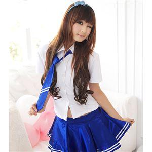 ネクタイ付き半袖ブラウススカートセット(2126-SX/2126-bu) ホワイト×ブルー - 拡大画像