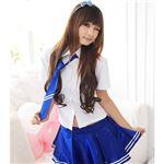 ネクタイ付き半袖ブラウススカートセット(2126-SX/2126-bu) ホワイト×ブルー
