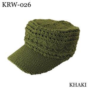 アクリル麻混ツバ付きワッチ(KHAKI) - 拡大画像