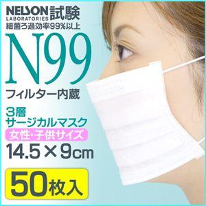 3層サージカルマスク (N99フィルター使用) 女性・子供 IFD-029【50枚入り×40個セット】 - 拡大画像
