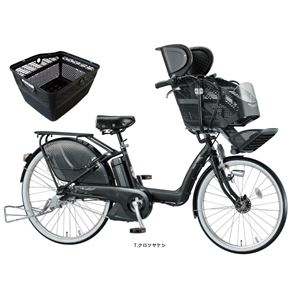 BRIDGESTONE (ブリヂストン) 自転車本体/電動自転車 アンジェリーノ e 26インチ 内装3段 T.クロツヤケシ ふっかふかサドルシリーズ リアかご(黒)付き - 拡大画像