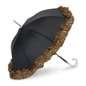 2013年モデル ACCENTS Tokyo(アクセンツトーキョー) すてきパラソル フルール ポリエステル100% ヒョウ柄 UVカット率97%以上 ワンタッチ式 長傘(雨・日傘兼用)