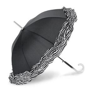 2013年モデル ACCENTS Tokyo(アクセンツトーキョー) すてきパラソル フルール ポリエステル100% ゼブラ柄 UVカット率97%以上 ワンタッチ式 長傘(雨・日傘兼用)