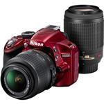 ニコン デジタル一眼レフカメラ D3200 200mmダブルズームキット レッド D3200RDWZ