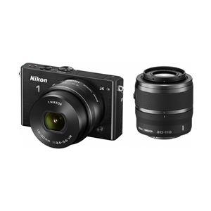 ニコン レンズ交換式アドバンストカメラ Nikon 1 J4 ダブルズームキット ブラック N1J4WZBK - 拡大画像