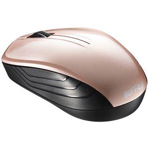 バッファロー 無線 BlueLED 3ボタン スタンダードマウス ベージュピンク BSMBW107BP - 拡大画像