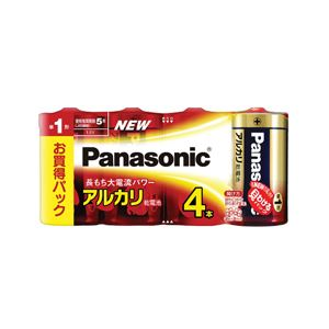 パナソニック アルカリ乾電池 単1形 4本シュリンクパック LR20XJ/4SW - 拡大画像