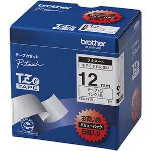 ブラザー工業TZeテープラミネートテープ(白地/黒字)12mm5本パックTZe-231V