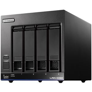アイ・オー・データ機器 5年間の保守付き 40人程度の中規模オフィス向け4ドライブNAS「LAN DISK X」高性能CPU&NAS用HDD「WD Red」搭載 故障の予兆をお知らせ! 4TB