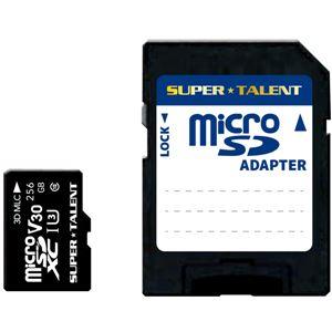 SUPERTALENTUHS-I高耐久3DMLCNAND採用microSDXCメモリーカード256GBClass10変換アダプタ付