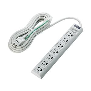 エレコム RoHS指令3ピン対応タップ/7個口/マグネット付/雷ガード/スイッチ連動/5.0m/グレー